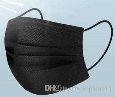 Siyah Tek Yüz Maskeleri Siyah Anti-Dust Ağız Olmayan Dokuma Maske Karşıtı Kirlilik Tek Pamuk Ağız Yüz Maskeleri Maske