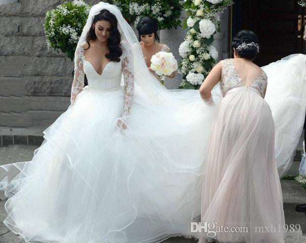 2019 vestido lindo da praia vestidos de casamento profundo Querida renda e tule hierárquico Saias Vestido de baile de casamento personalizado feito barato vestidos de noiva