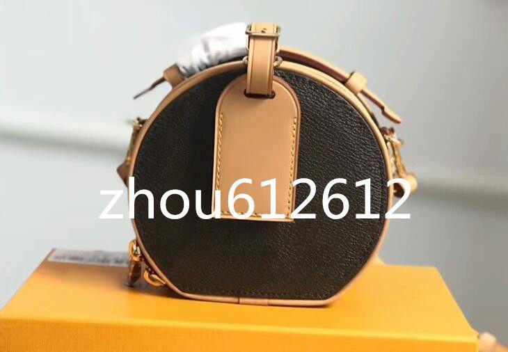 Novo Mini Boite Chapeaux Carta flor designer de bolsas saco da forma Últimas mulheres redondas pequenas Bolsas de ombro dimensionar 13x12x6.5cm modelo M44699