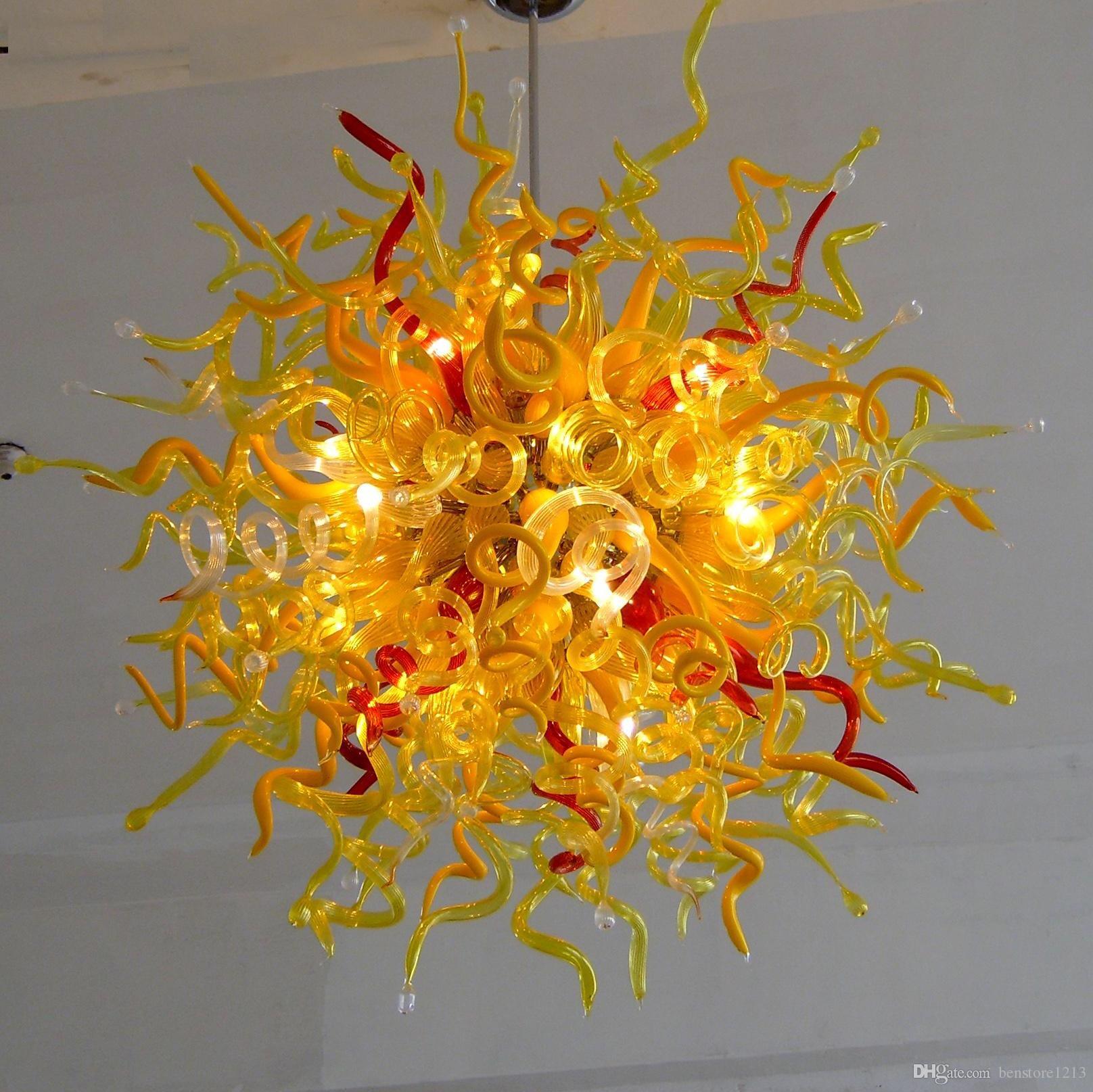 Livraison gratuite 100% borosilicate soufflé bouche en verre de Murano Lustre Lumière Art Déco Pendentif en or éclairage de plafond