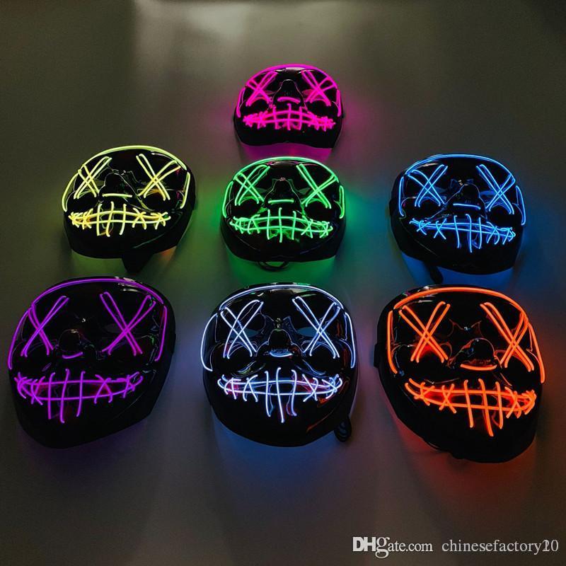 Cadılar Bayramı LED Işık Up Zombi Parti Cosplay Ay Açık Maskeler Maske Tahliye Seçim Yıl Komik Glow Karanlık Korku maskeler ise