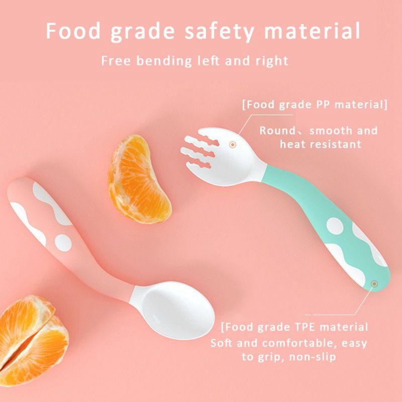 Baby Fork Spoon Set Curved Utensil Training Self-feeding Easy Grip Tableware Set