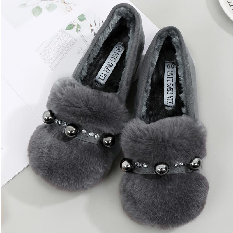 Le donne scarpe di cotone cristallo inverno più caldo velluto mocassini solidi creepers rotonde appartamenti toe strass scivolano sui fannulloni comodi caldo