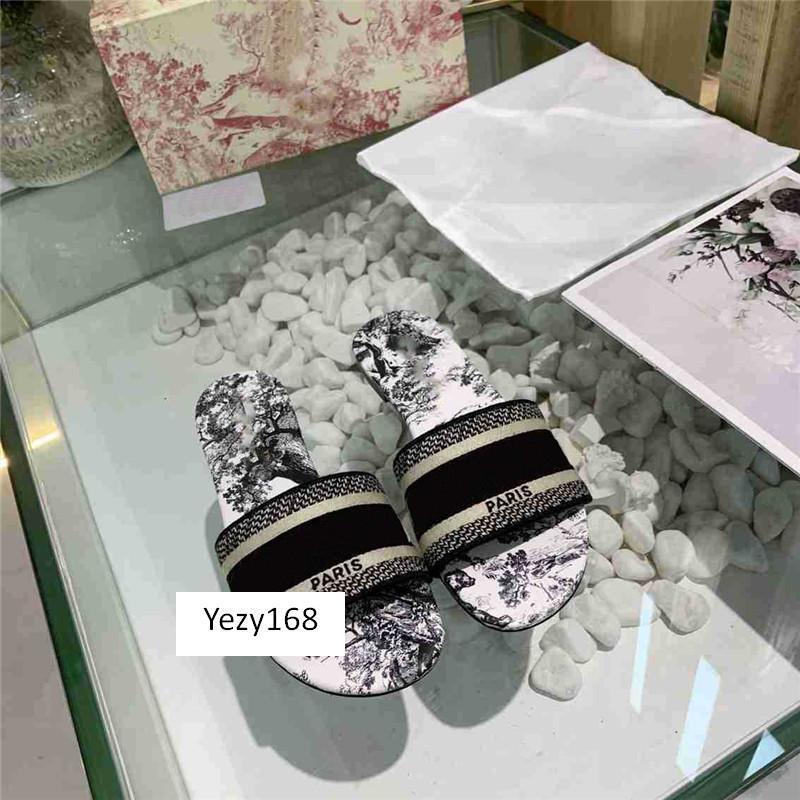 caja original de moda de Bohemia Mujeres Zapatillas letra de la manera bordado de señora Sandal 9