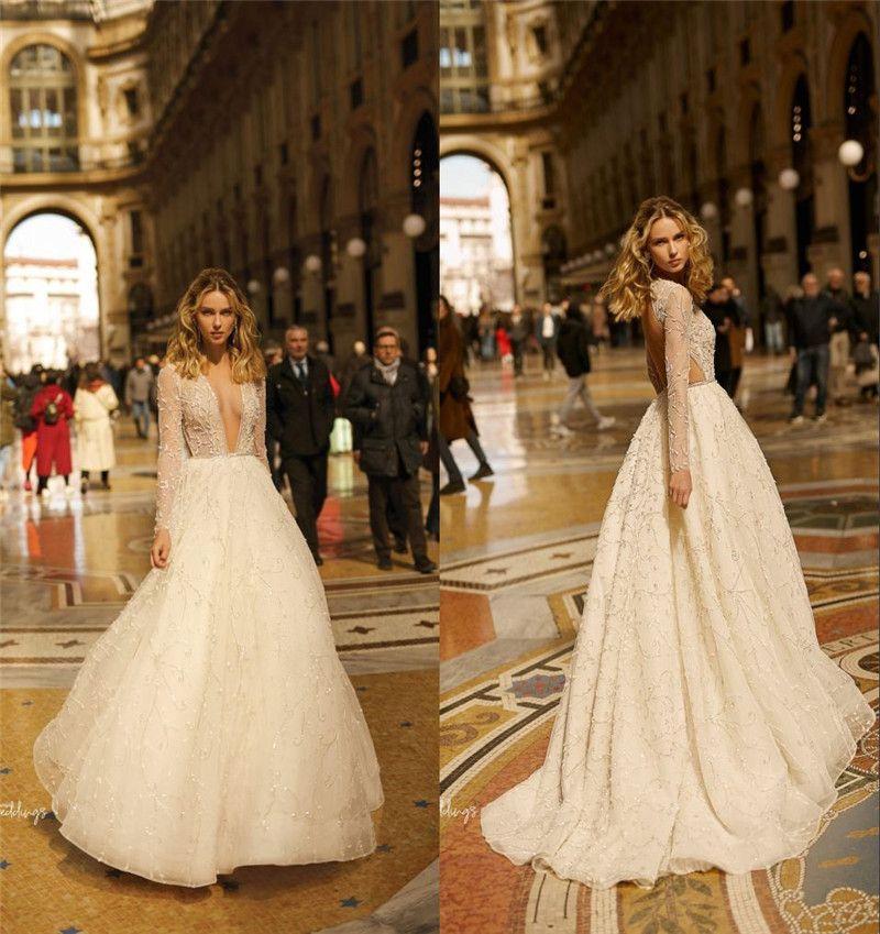 2019 шампанское с длинными рукавами онлайн чешское свадебное платье элегантный полный шнурок глубокий V-образным вырезом пляж Boho плюс размер свадебное платье