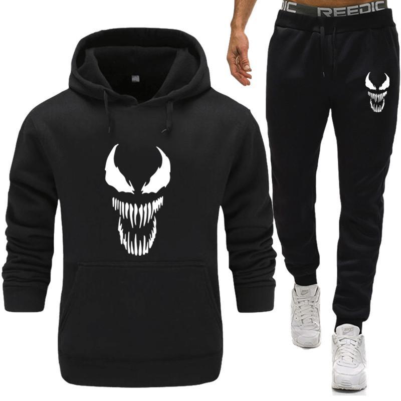 Venom Hoodie Erkekler Tişörtü Örümcek Adam Çizgi Superhero Anime Erkek / Bayan Hoodies Sweatshirt + Sweatpants Artı Kadife Casual Hoody