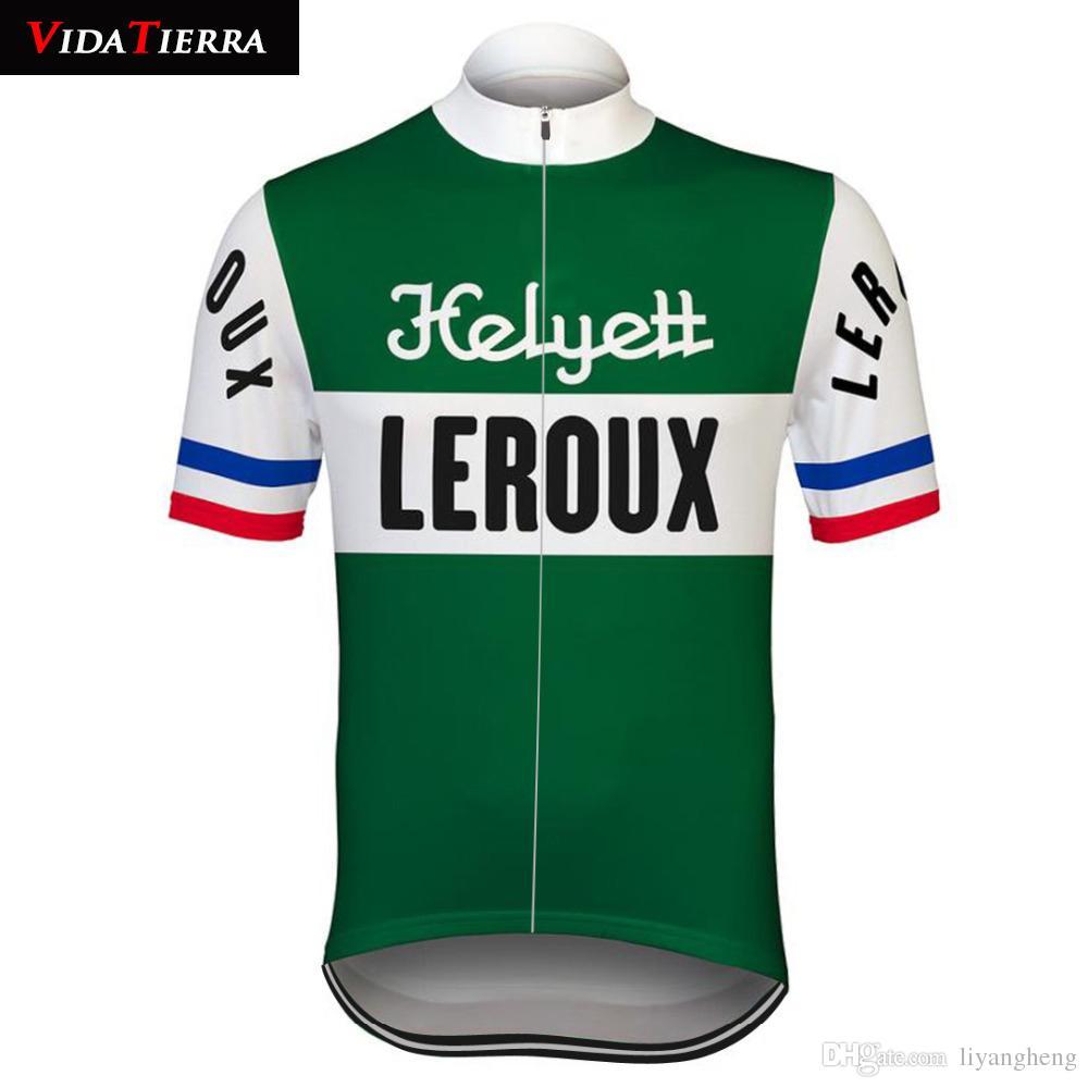 2019 VIDA TIERRA maglia da ciclismo verde Retro pro team racing leroux abbigliamento da bicicletta Ciclismo classico Traspirante fresco Sport all'aria aperta Retro