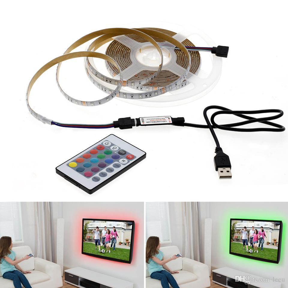 5V USB الصمام الخفيفة قطاع 1M 2M 3M 4M 5M الدافئة الابيض / أبيض / RGB LED قطاع 2835 الإضاءة الخلفية TV Decoracion الجنية أضواء