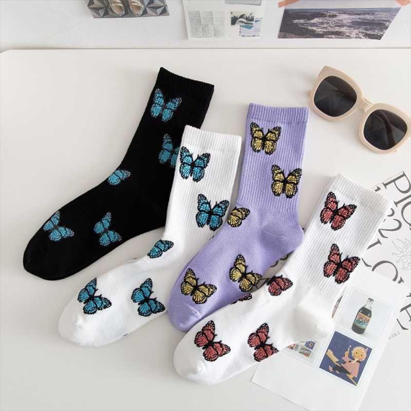 1Pair Women Butterfly Socks Korean Kawaii Socks Harajuku Female Skateboard Woman Cotton Girl Beautiful Streetwear