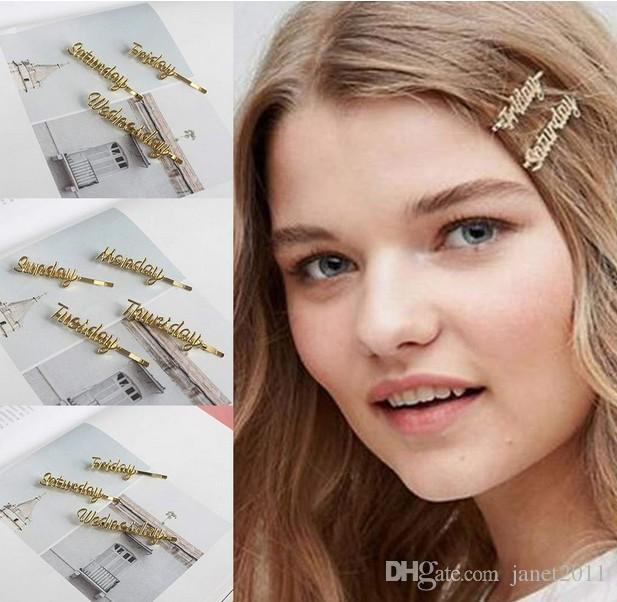 2020 Hair Clips Minimalist Women Girls Side Bangs One Word Hair Clip Metallic Funny Monday To Sunday Hairpin Styling Handwriting Letter Barrette From Janet2011 0 93 Dhgate Com