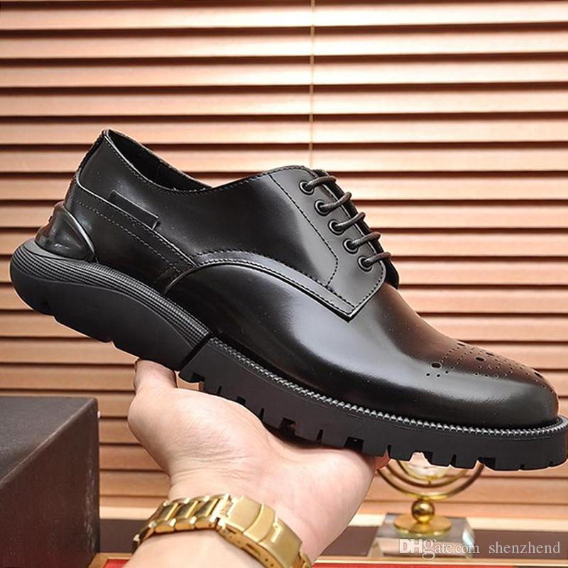 Fashion Classic Derby Shoes Breathable Mens Shoes Autumn and Winter Leather Dress Footwears Formal Party Office Wedding Lace-up Shoes