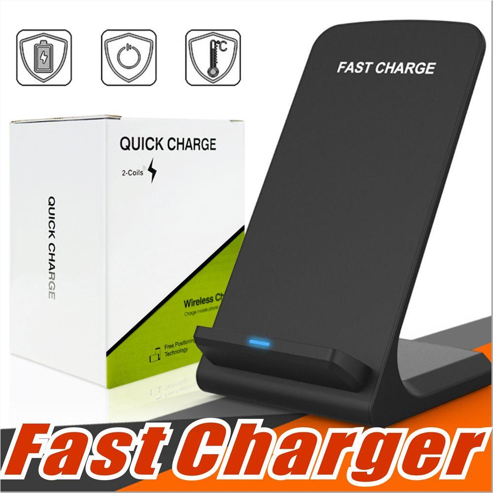 2 Bobinas Carregador Rápido sem fios Qi carregamento sem fio suporte Pad para Samsung Nota 8 S8 S7 todos Qi-habilitado Smartphones