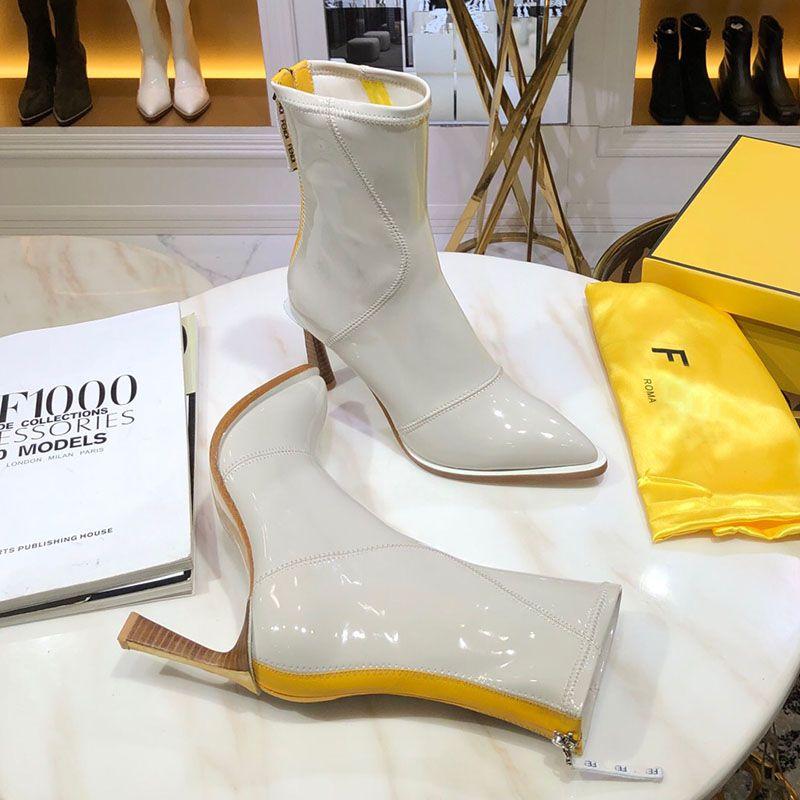 Mode Luxus-Designer-Stiefel für Frauen neu mit dünner Ferse 8,5 cm Lackleder Ritter Stiefel Damen Winterstiefel schwarz Weißen Schuhe mit Kasten