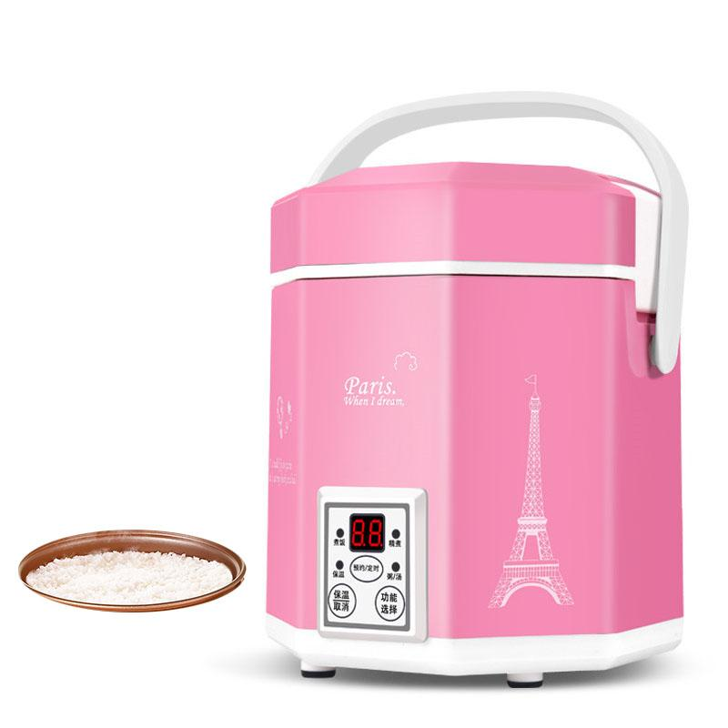 1.2L mini rice cooker small 2 layers Steamer Multifunction cooking Pot Electric insulation heating cooker 1-2 people