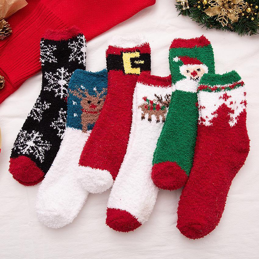 Lovely Christmas Socks Women Men Gift Santa Claus Deer Warm Winter Xmas Funny