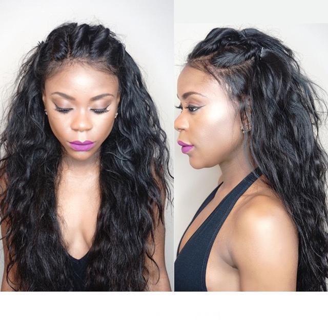 Trasparente HD riccia piena del merletto dei capelli umani parrucche pre pizzicata capelli umani brasiliani Glueless parrucche per donne di colore Water Wave 130% Densità