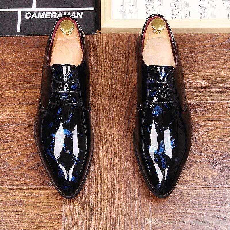 가을 망 드레스 지적 발가락 꽃 특허 가죽 웨딩 파티 Oxfords 신발 레이스 레드 블루 그린 남성 패션 옥스포드