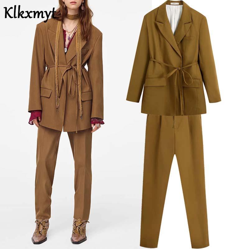 Katı ceket kadınlar saten İngiltere ofis bayan basit mujer 2020 bayan ceket pantolon harem kadınları iki adet set Blazer