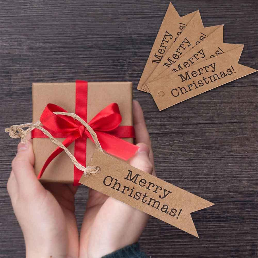 100PCS Merry Christmas Gift Tags Candy Bag Box Hang Paper Tags Label Xmas Gift Craft Card String Christmas Tree Decoration