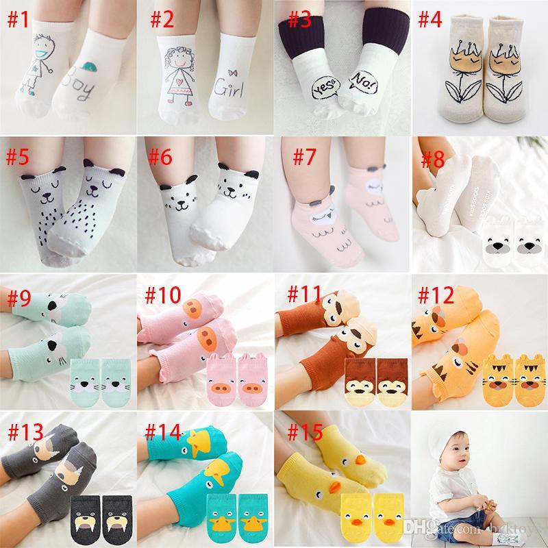 Hot 15 estilos bebé moda calcetines de algodón recién nacido infante niños piso antideslizante calcetines chicas niños calcetines