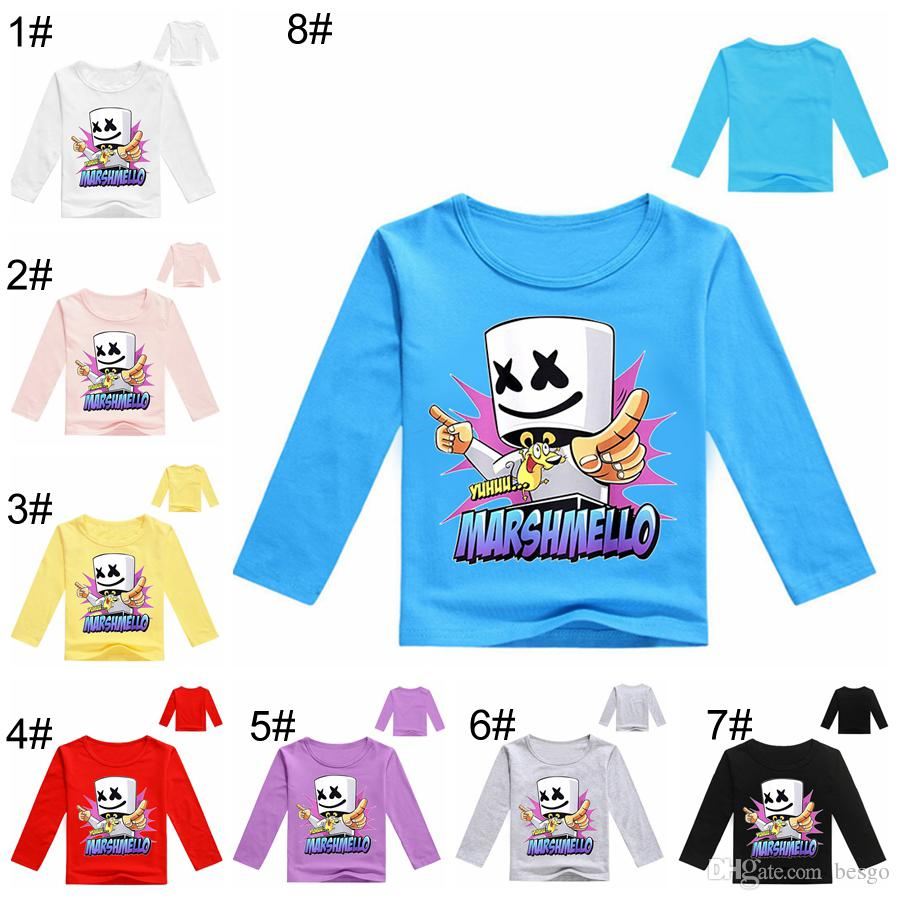 Boys Girls Marshmello Kids Casual Long Sleeve T-shirt Party Spring Fall Costumes
