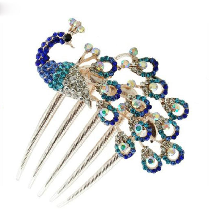 Hair Pins Rhinestone Gem Peacock Barrette Hairpin Hair Clip Combs Wedding Hair Jewelry Accessories DIY For Women Bridal Crafts