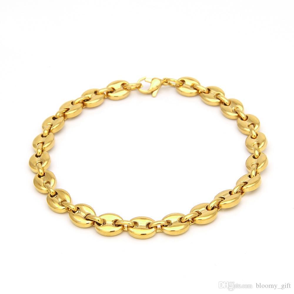 trend gioielli vuoto placcatura braccialetto maiale in acciaio bracciale naso chicco di caffè uomini europei e americani di hip hop