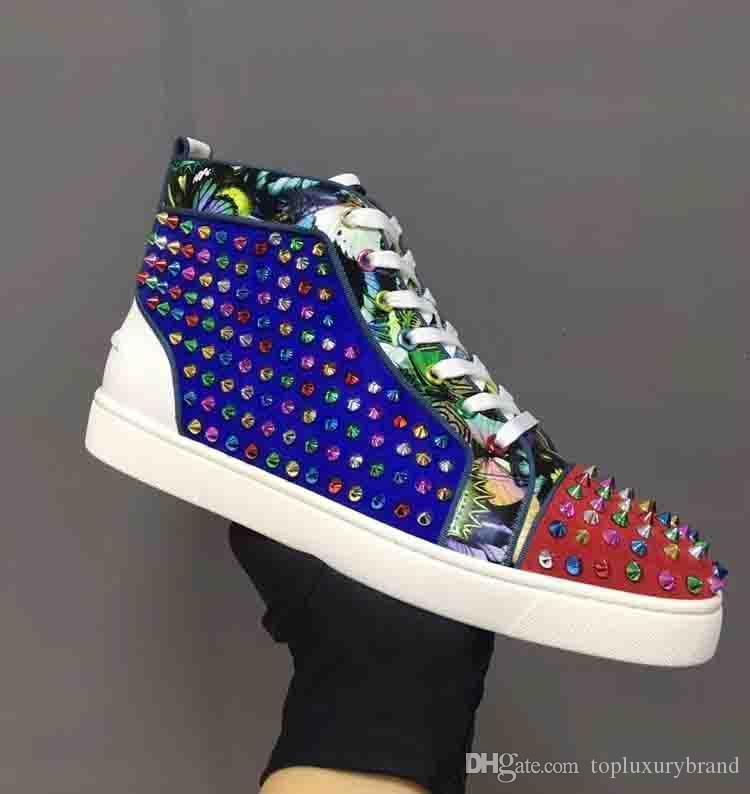 Top Quality desenhista calça vermelha spike inferior Sapatilhas de couro Calçado Casual Sapatos de luxo camurça Tamanho Homens Mulheres Sneakers com saco de poeira Box