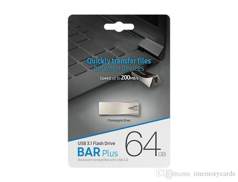 뜨거운 판매 금속 스트립 플러스 USB 플래시 드라이브 32 기가 바이트 64 기가 바이트 128 기가 바이트 메모리 스틱 USB 3.0 - 2.0 U 디스크 드라이브 물집이 소매 포장