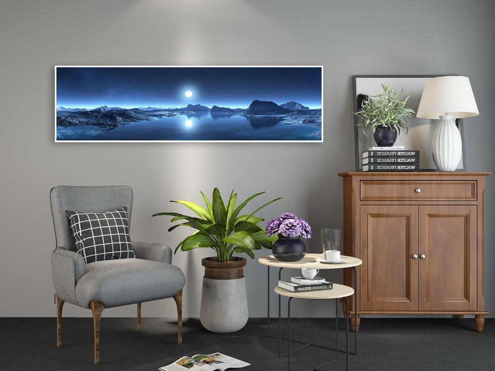 ev dekor boyama duvar sanatı fotoğrafın sanat HD baskı boyama poster ve fotoğraf dağ göl ay manzara afişler tuval