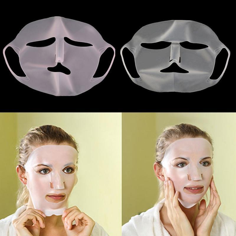 Soins de visage en silicone réutilisable peau Masque pour Masque Feuille de prévenir l'évaporation vapeur réutilisation masque imperméable rose / blanc outil de beauté