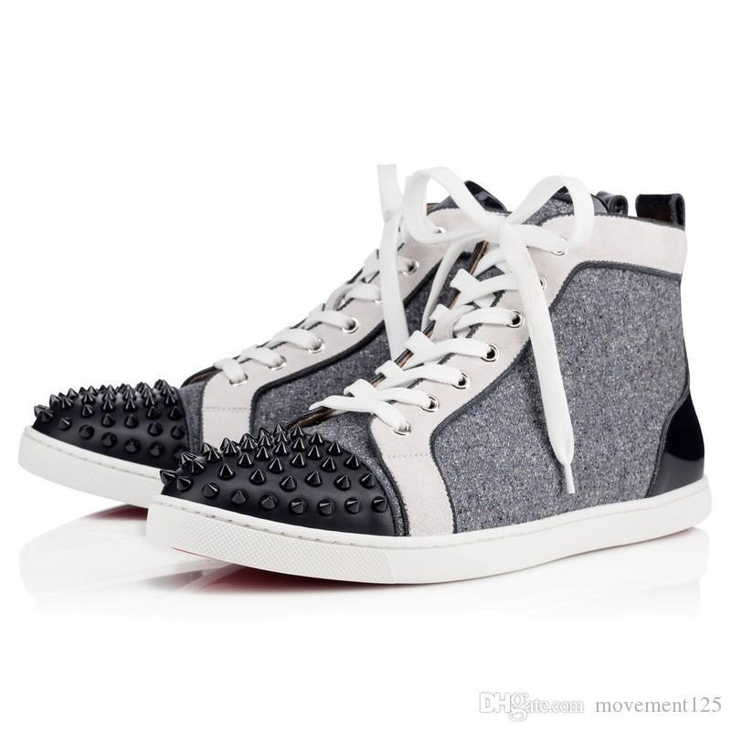 2017 del partito degli uomini di lusso scarpe da sposa inferiore rossa di cuoio della scarpa da tennis di brevetto picchi di alta qualità Vino-Rosso Nero Hightop