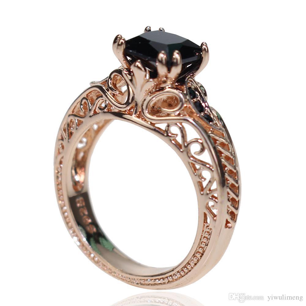 Personnalité diamant femmes'S Bague Luxe Bijoux Noir Bague en diamant Femmes Mode en gros Style Rose Or Bijoux Bague