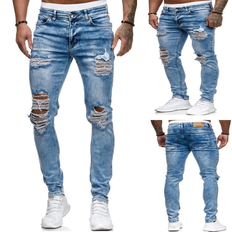 Slim Fit Мужские джинсы Hole Мотоцикл плиссе Вскользь Мужской Упругие силы Карандаш Брюки Straight Хип-хоп джинсы брюк для мужчин