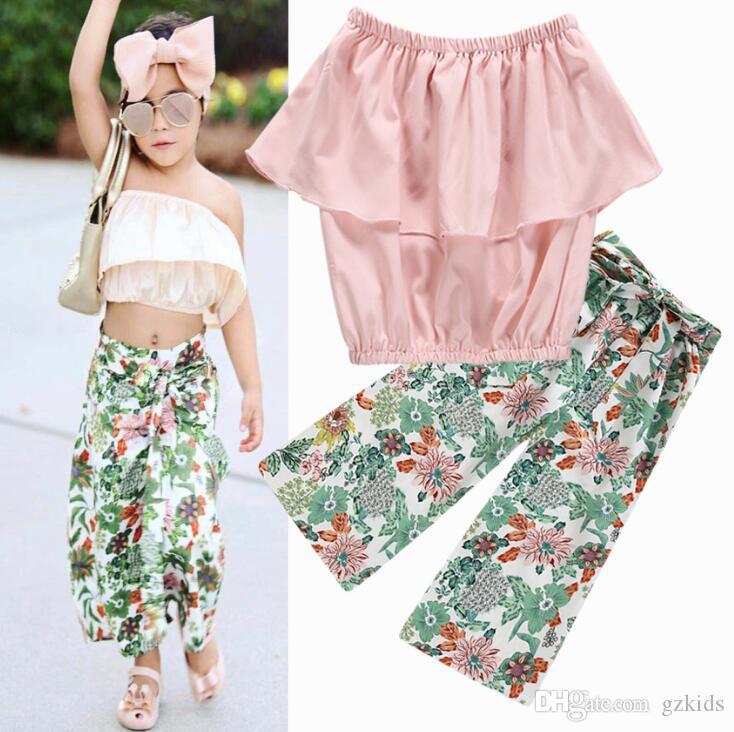 Новая детская одежда весной и летом 2019 года евро-американский Girls'Lotus лист края с сломанной цветок прямой пояс брюки костюм