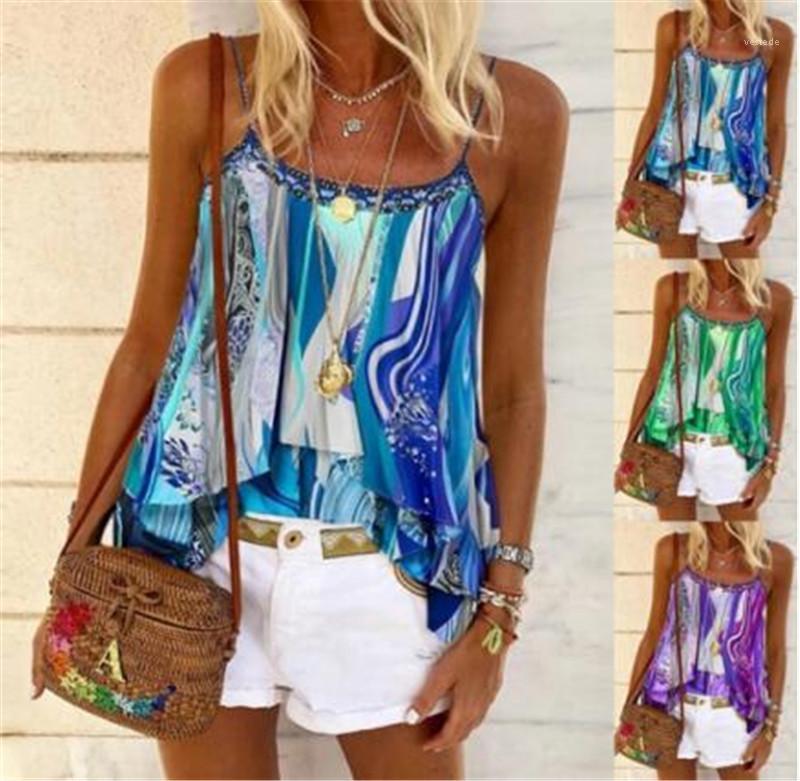 여성 캐미솔 꽃 프린트 티셔츠 봄 여름 민소매 대비 컬러 디자이너는 매일 O 목 티 탑