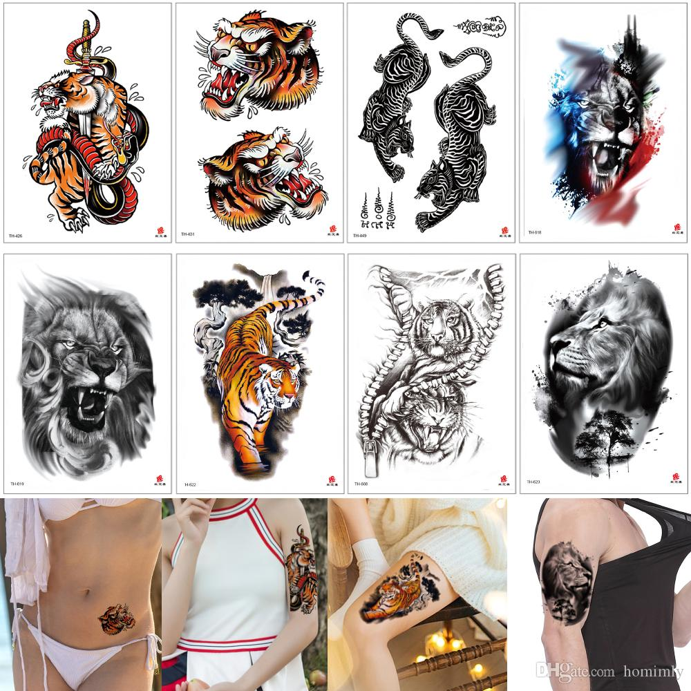 Roar Tiger Temporary Tattoo Fashion Waterproof Fake Arm Sleeve Leg Back Body Art Water Transfer Tattoo Sticker for Male Female Skin Cover 3D