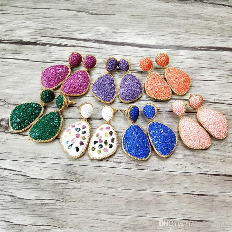 pendientes de cristal multicolor de piedra que conducen cuelgan, hechos a mano de la joyería de las mujeres cuelga el pendiente ER794