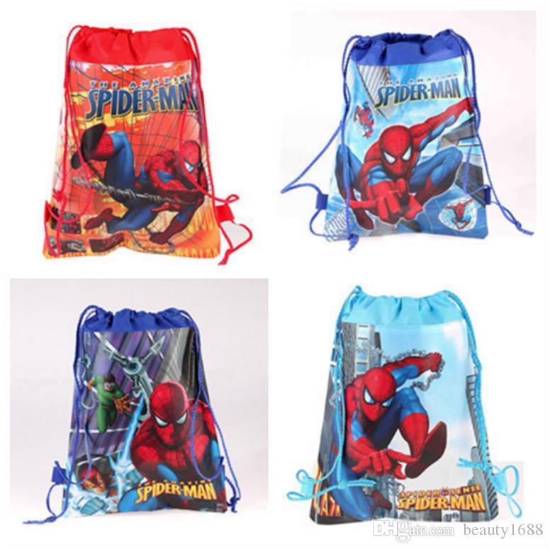 34 * 27cm 120pcs DHL Karikatür Paketi Pocket Spiderman çocuk Dize Okul Çantası Çocuk Boy Kız Süper Kahraman Çizgi Yüzme Takımı Dokumasız Berabere
