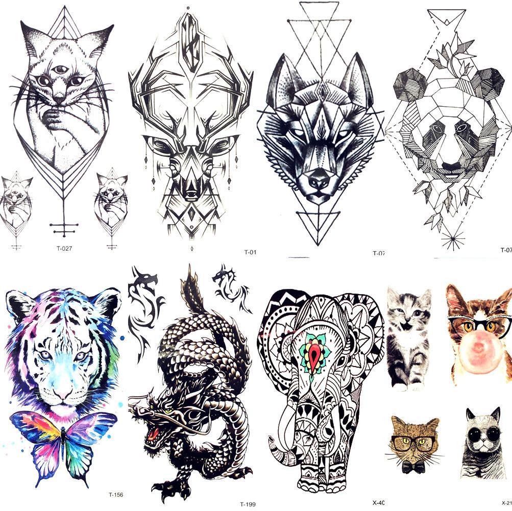 Géométrie Chat Elk Wolf Tatouage Temporaire Femmes Corps Bras Transfert D'eau De Tatouage Hommes Maquillage Tatto Autocollant Bracelet Cerf Animal Zoo D19011202