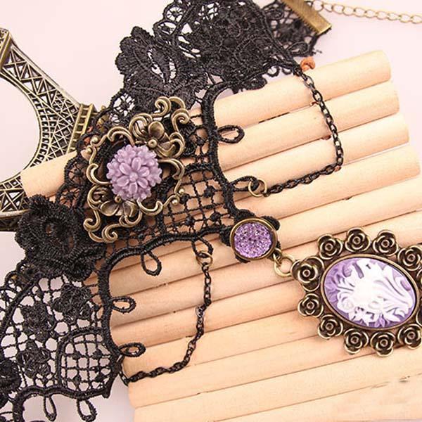 10pcs mischte Halsketten-Schmuck Gotik Punk Mode-Weinlese schnüren sich oben Halskette-Halskette für Ereignis-Partei-Abschlussball-Frauen-Lolita CollarG4