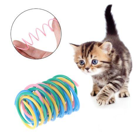 القط الربيع الحيوانات الأليفة لعبة على نطاق واسع بلاستيك ملون الينابيع القط لعب عمل الحيوانات الأليفة على نطاق واسع دائم التفاعلية ألعاب الربيع لعب التحمل