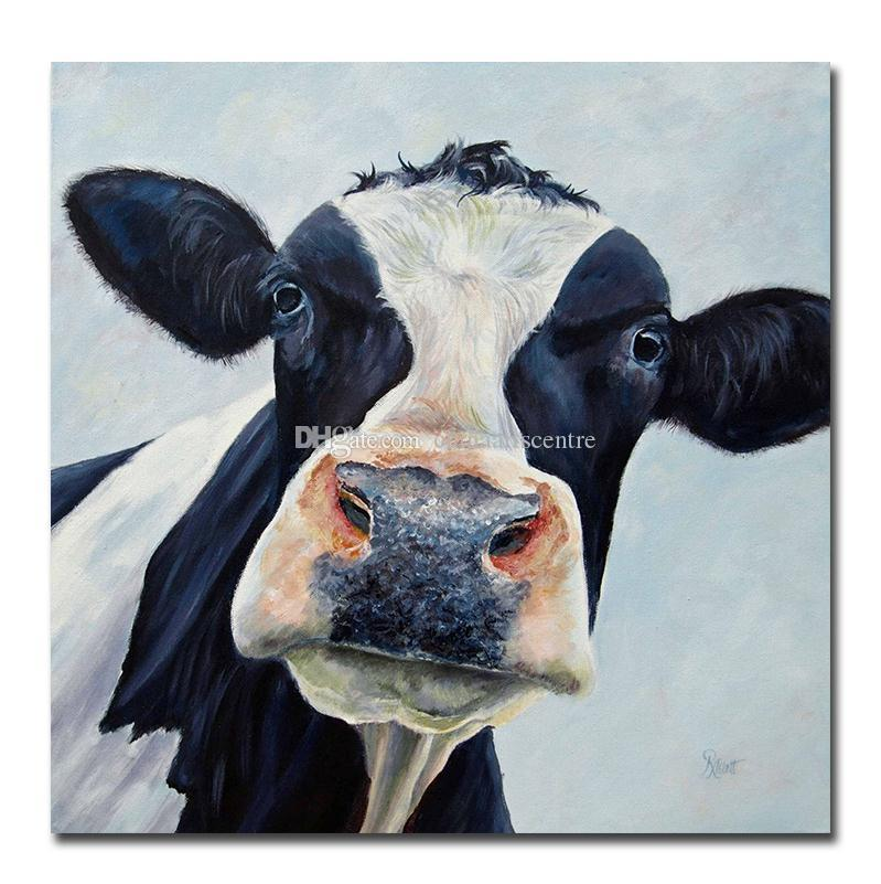Modern Cute Cow Handpainted & HD Print Abstract Animal Art Oil Painting On Canvas Wall Art Home Deco a81