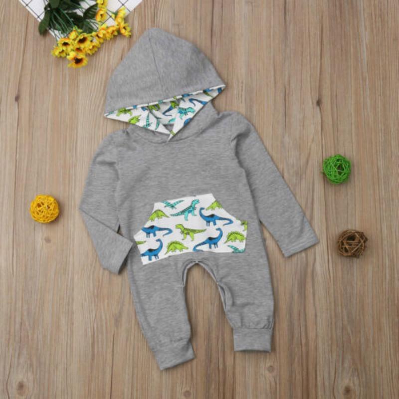 Infantil al bebé recién nacido con capucha dinosaurio ropa del mono del mameluco manera de la princesa cómodo Bodysuit Trajes