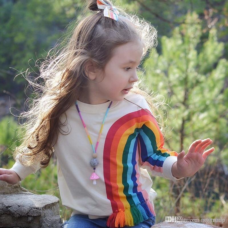 Printemps automne mode enfants filles coton coton arc-en-ciel taasel t-shirts enfants enveloppe o-cou tops twees designer ins