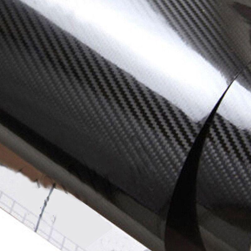 5d للألياف الكربون التفاف الهواء الحر التفاف فقاعة الفيلم ملصق على الدراجات النارية السيارات ملصق الهاتف مقاوم للماء اللون الأسود 152 X 30CM