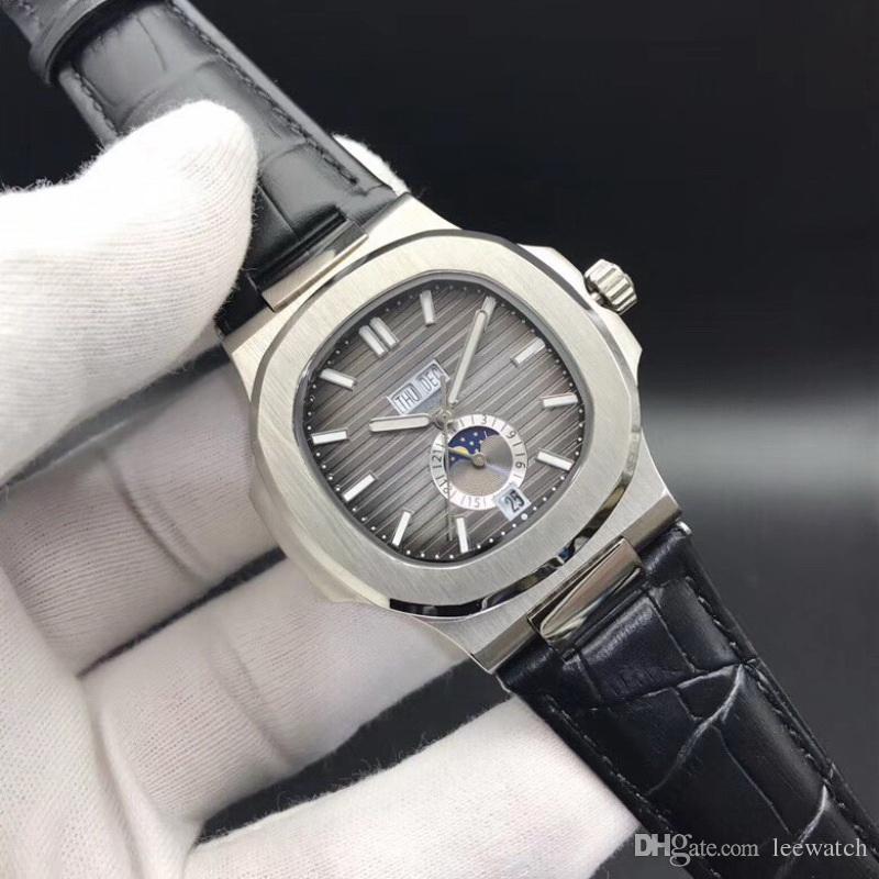 18 Цвета Высокое Качество Часы 5726 Механические автоматические Мужские Часы Луны Фаза 24H Нержавеющая Сталь Все функции Работа 40,5 мм
