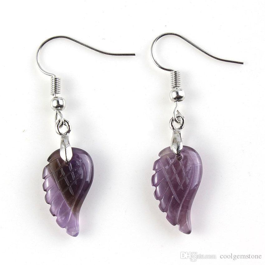 6 Stück Weinlese natürliche Amethyst-Engels-Flügel baumeln Ohrringe Anhänger Silber Hochzeit Ohrringe Anhänger Schmucksachen für Frauen