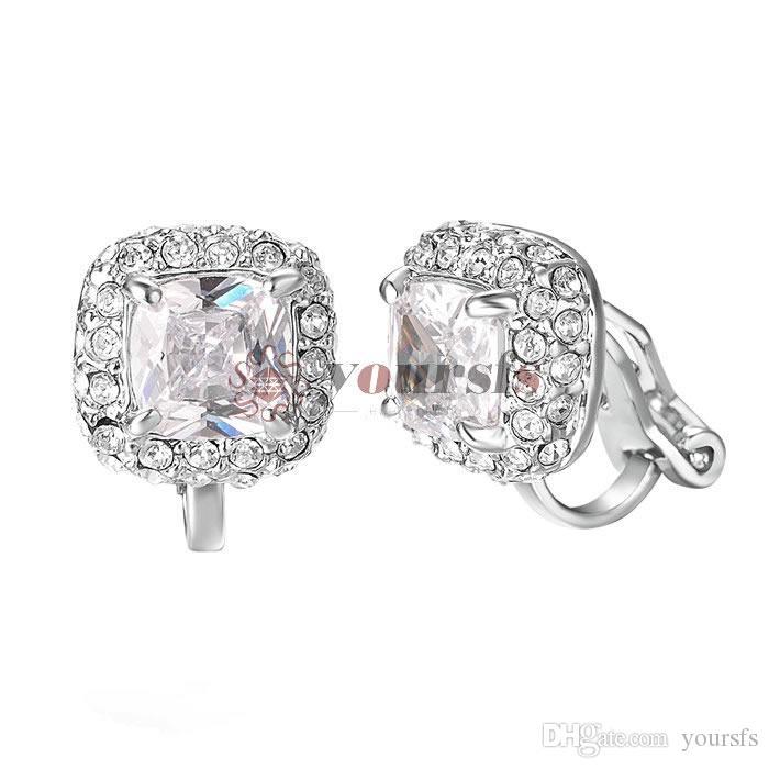 Yoursfs CZ Clip Earrings For Women 18K Rose Gold Plated Elements Zirconia Clip-on Earrings (Clipon Earrings