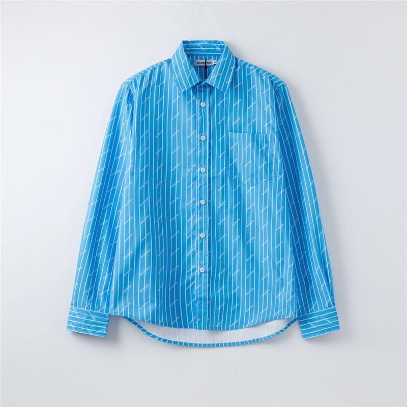 حار الرجل مصمم القمصان النسائية العلامة التجارية بلوزة الخريف الربيع كم طويل Overshirts فاخر التلبيب الرقبة رسالة موضة القميص طباعة C1 2040203V